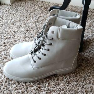 Men's Light Gray Combat Boots